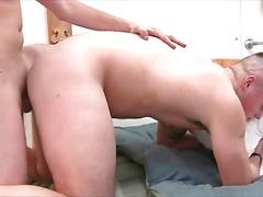 Naked college guy ass drilled in dorm room