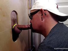 Interracial gloryhole double blow job