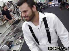 Latino hairy dude tricked to sucked dick behind the counter and gets ass filled with cock