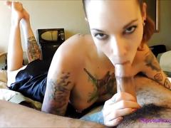 Blowjob in the pose footjob swallow