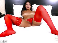 Sexy sophia leone in hot red lingerie