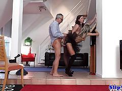 doris ivy, blowjob, anal, babe, stockings, heels, threesome, european, amateur