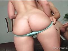 Redhead mom fills daughters mouth with cock
