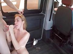 Blonde eats cock like a hamburger in the sex bus