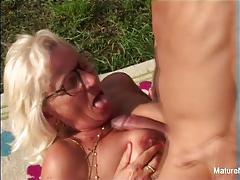 Nasty granny fucked outdoors