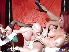 Horny cougars sharing a big dick