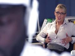 Bums buero - hot busty german milf sucks bbc at the office