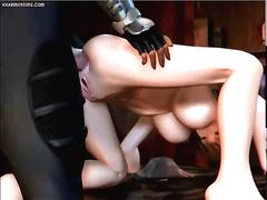 Busty animated slut gets cunt rammed