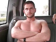 Lusty gay blowing straight cock in the bus