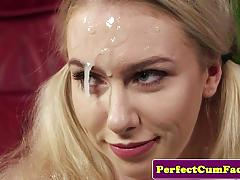 Blonde doused with thick cum