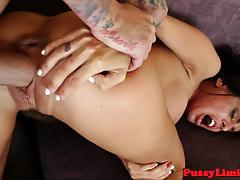 Pretty bigtitted babe has a hard fuck in her pussyhole