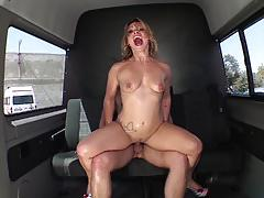 German babe gets fucked in the van