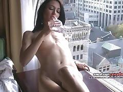 Sumptuous brunette masturbating