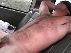 Big cock stud taking a gay bj in the boys bus