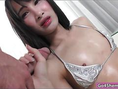 Asian shemale pooh gets dick sucked by and ass banging a guy