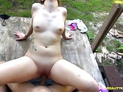 Bruce breaks into the vag of kinky little kobi brian outdoors
