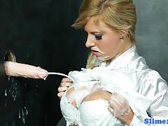 Classy blonde doused with cum