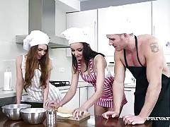 Two hot babes fuck the chef