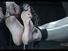 bdsm, babe, mask, mouth gagged, device bondage, rope bondage, foot torture, infernal restraints, infernal restraints, sierra cirque