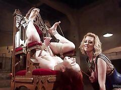 milf, blonde, babe, redhead, lesbian bdsm, device bondage, whipped ass, lesbian strap on, head down, whipped ass, kink, cherry torn, violet monroe