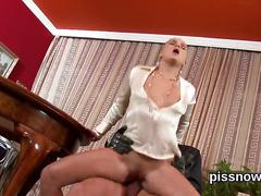 Staggered looker in underwear is geeting peed on and pounded