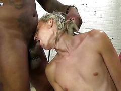 Skinny blond gay teasing huge black dick