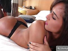 Latin shemale hottie felipa lins throatfucked and ass reamed