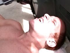 Ass drilled gay cums hard on the bus floor