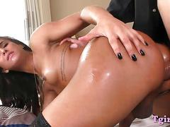 Sexy shemale and nasty man anal fucking bareback in bed
