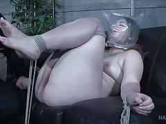 bdsm, breathplay, suffocation, bbw babe, brown haired, rope bondage, hard tied, hard tied, harley ace
