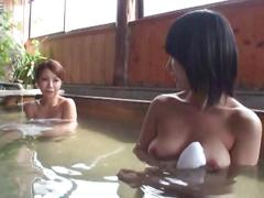 To female customers came in a towel in hot water film