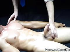 Muscled young mormon masturbates for older guy