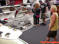 Baited pawnshop visitor being facialized
