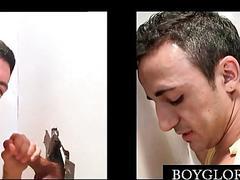 Teen gay loves big cocks to suck on gloryhole