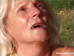blonde, fetish, public, old/young, maturendirty, kink, old, glasses, hardcore, mature, grandma, granny, outside, outdoors, outdoor, cumshot, cum-on-glasses, amateur