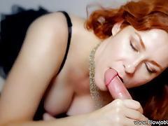 Redhead swallows this hard dick