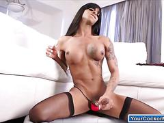 Shemale saline simone lactates milk and jerking off her cock