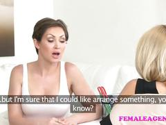 Femaleagent busty babe licked and finger fucked by sexy blonde lesbian
