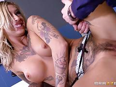 kleio valentien, danny d, blowjob, doggystyle, cumshot, facial, blonde, desk, huge cock, chair, office, spooning, sucking, licking pussy