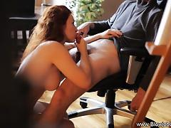 Redhead devours this hard dick