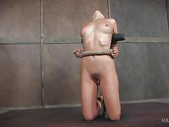 bdsm, babe, brunette, tattooed, mouth gagged, rope bondage, electric vibrator, hard tied, hard tied, roxanne rae