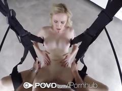 Povd - pov blonde peyton coast fucked on a sex swing