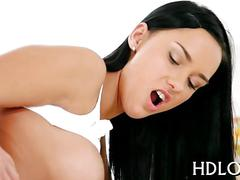 Skinny babe rides a cock and moans like crazy