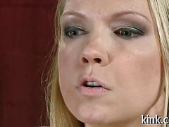 Pretty tattooed blonde gets tied up and humiliated with cocks