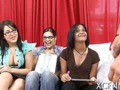Three babes decide which cock will they share on casting