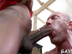 Bald gay dude blows his black friends thick cock nicely