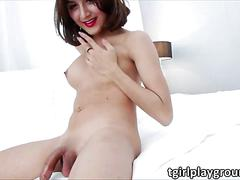 Pretty ladyboy alice fluctuates her dick in orgasmic masturbation