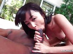 Asian sex doll humping giant black pecker