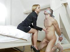 Young blonde shoejob and licking