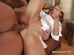 Redhead gets her pussy drilled